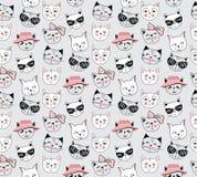 Wektorowego moda kota bezszwowy wzór Śliczna figlarki ilustracja wewnątrz ilustracja wektor