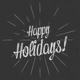 Wektorowego monochromatycznego teksta Szczęśliwi wakacje dla kartka z pozdrowieniami, ulotka, plakatowy logo z literowaniem Obrazy Royalty Free