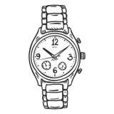 Wektorowego nakreślenia mężczyzna Klasyczny Wristwatch Obraz Stock