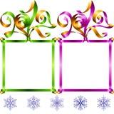 Wektorowego nowego roku 2017 kwadrata ramowy set zielone purpurowy royalty ilustracja