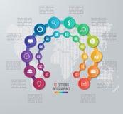 Wektorowego okręgu infographic szablon dla wykresów, mapy, diagramy royalty ilustracja