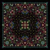 Wektorowego ornamentu bandan Hafciarski kwiecisty druk, jedwabniczy szyja szalik lub chustka kwadrata wzoru projekta styl dla dru ilustracji
