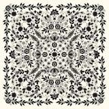 Wektorowego ornamentu bandan Hafciarski kwiecisty druk, jedwabniczy szyja szalik lub chustka kwadrata wzoru projekta styl dla dru ilustracja wektor