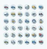 Wektorowego płaskiego koloru cienkie kreskowe ikony ustawiać z transportem publicznym, samochody zarysowywają symbole Obraz Royalty Free