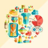Wektorowego płaskiego niemowlęctwa round ilustracja Dziecka niemowlęctwa produkty T ilustracja wektor