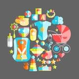 Wektorowego płaskiego niemowlęctwa round ilustracja Dziecka niemowlęctwa produkty T royalty ilustracja
