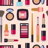 Wektorowego płaskiego piękna fashoin dekoracyjni kosmetyki deseniują bezszwowego Zdjęcia Royalty Free