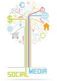 Wektorowego płaskiego projekta drzewna ilustracja z ogólnospołecznymi medialnymi ikonami Fotografia Royalty Free