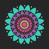 Wektorowego Płaskiego projekta mandala ilustraci Lotosowy symbol Obrazy Stock
