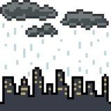 Wektorowego piksel sztuki miasta chmurny deszcz Obrazy Royalty Free