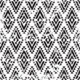 Wektorowego plemiennego ornamentu grunge bezszwowy wzór Abstrakcjonistyczny czerń a Zdjęcie Stock