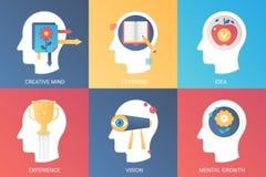Wektorowego pojęcia kreatywnie umysł, uczenie, pomysł, doświadczenie wzrok, umysłowy przyrost Nowożytny gradientowy mieszkanie st ilustracja wektor