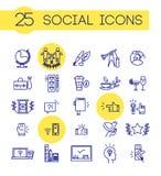 Wektorowego prostego błękitnego koloru ogólnospołeczne ikony ustawiają odosobnionego na białym tle Zdjęcia Stock