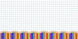 Wektorowego prostokąta puszka kreskowa granica robić kolorowi drewniani ołówki na graphing papierze royalty ilustracja