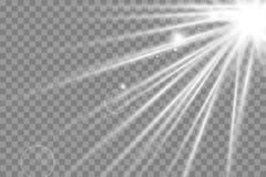 Wektorowego przejrzystego światło słoneczne obiektywu specjalnego błysku lekki skutek frontowy słońce obiektywu błysk royalty ilustracja