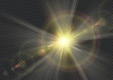 Wektorowego przejrzystego światło słoneczne obiektywu specjalnego racy lekki skutek Zdjęcie Stock