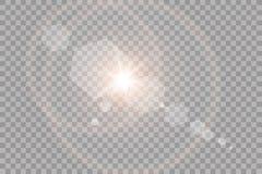 Wektorowego przejrzystego światło słoneczne obiektywu specjalnego racy lekki skutek Słońce błysk z promieniami i światłem reflekt ilustracja wektor