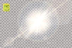Wektorowego przejrzystego światło słoneczne obiektywu specjalnego racy lekki skutek Słońce błysk z promieniami i światłem reflekt Obraz Stock