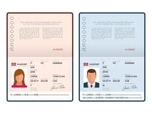Wektorowego pustego miejsca otwarty paszportowy szablon Międzynarodowy paszport z próbka dane osobistą stroną Dokument dla odosob ilustracja wektor
