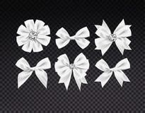 Wektorowego realistycznego faborku bielu kształtni łęki ustawiający ciemny przejrzysty tło Zdjęcie Royalty Free