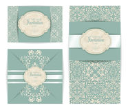 Wektorowego rocznika baroku adamaszka stylu luksusowy zaproszenie, kartka z pozdrowieniami projekt Zdjęcia Royalty Free