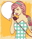 Wektorowego rocznika kolorowa sztuka bardzo piękny subkultura ruch punków, modniś kobieta z telefonem, szpilka up, wystrzał sztuk ilustracji