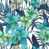 Wektorowego rocznika kwiecisty tropikalny bezszwowy wzór ilustracja wektor