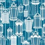 Wektorowego rocznika latarniowy bezszwowy wzór Klasyczny antyka światło Antyczny retro lampowy projekt Tradycyjna sylwetka stary Obrazy Stock