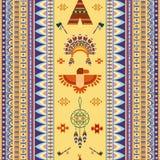 Wektorowego rocznika plemienny etniczny bezszwowy wzór dla Zdjęcia Royalty Free