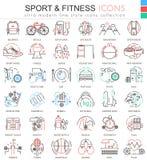 Wektorowego sporta, sprawności fizycznej koloru konturu linii ultra nowożytne ikony dla i Zdjęcia Stock