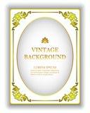 Wektorowego szablonu rocznika biały tło z złocistą królewską ramą Mockup tworzyć zaproszenia, kartka z pozdrowieniami, książkowe  royalty ilustracja