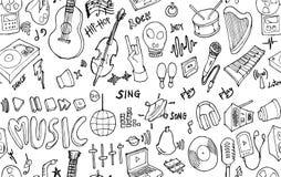 Wektorowego tła Bezszwowy wzór z ręka rysującym Muzycznym doodle Fotografia Stock