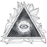 Wektorowego tatuażu ilustracyjna abstrakcjonistyczna święta geometria z wszystkowidzącym okiem royalty ilustracja