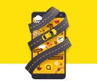 Wektorowego taxi app mobilna ikona ilustracji