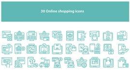 Wektorowego torquoise zakupy online ikony - wektor ilustracja wektor