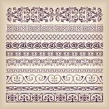 Wektorowego ustalonego rocznika granicy ozdobna rama z retro ornamentu patte Zdjęcie Royalty Free