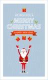 Wektorowego Wesoło kartki bożonarodzeniowa i Santa prezenta pudełko Zdjęcie Royalty Free
