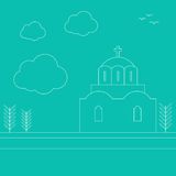 Wektorowego wizerunku Grecki kościół w liniowym stylu Zdjęcie Royalty Free