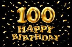 Wektorowego wszystkiego najlepszego z okazji urodzin świętowania 100th złoto szybko się zwiększać i złoty confetti połyskuje 3d I Fotografia Stock