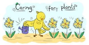 Wektorowego wystroju podlewania ilustracyjne Ptasie rośliny - kartka z pozdrowieniami ilustracji