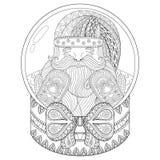Wektorowego zentangle Bożenarodzeniowa śnieżna kula ziemska z Święty Mikołaj Ręka bębeny Obraz Stock