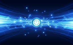 Wektorowej Abstrakcjonistycznej guzik władzy futurystycznej wysokiej technologii cyfrowej koloru błękitny tło, ilustracyjna sieć royalty ilustracja