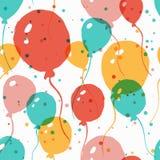 Wektorowej akwareli bezszwowy wzór z multicolor balonami Ab Fotografia Stock