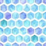 Wektorowej akwareli Geometryczny Bezszwowy wzór z Błękitnymi sześciokątami Zdjęcie Stock