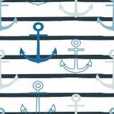 Wektorowej błękitnej kotwicy powtórki bezszwowy wzór na białego whith paska popielatym tle ilustracji
