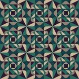 Wektorowej Bezszwowej Geometrycznej Zaokrąglonej trójboków kształtów kwadrata zieleni Popielaty Deseniowy Ciemny tło Zdjęcia Stock