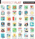 Wektorowej Blockchain technologii ikony pojęcia wektorowi powikłani płascy symbole dla sieć infographic projekta Fotografia Royalty Free
