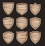 Wektorowej drewnianej osłony tekstury realistyczny drewniany znak royalty ilustracja