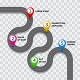Wektorowej drogi przemian drogowa mapa z GPS trasy szpilki ikoną royalty ilustracja