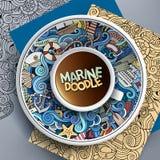 Wektorowej filiżanki kawy morski doodle Fotografia Stock